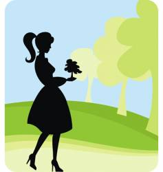 girl planting tree vector image