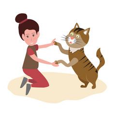girl playing with cat best friends ever pet vector image