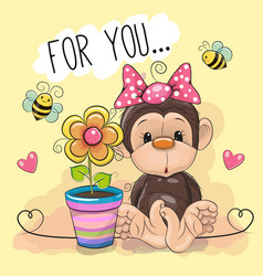 Greeting card cute cartoon monkey with flower vector