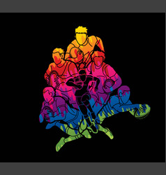 group rugby players action cartoon sport vector image