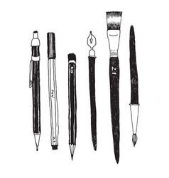 hand drawn art tools and supplies set vector image