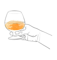 Hand with cognac glass vector