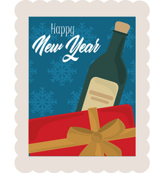 happy new year 2021 gift box and wine bottle vector image