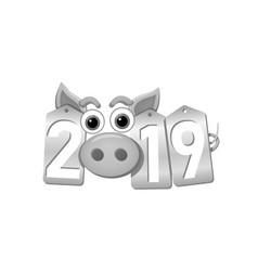 Happy new year 3d background pig face silver vector