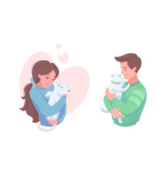 Happy pet owners with puppy and kitten vector
