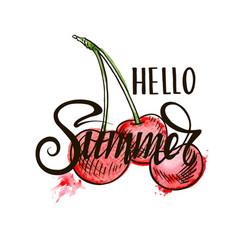 hello summer inscription on cherries background vector image