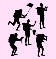 Hiker gesture silhouette 05 vector