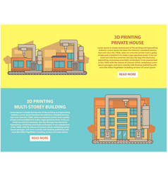 house 3d printing concept horizontal banner vector image