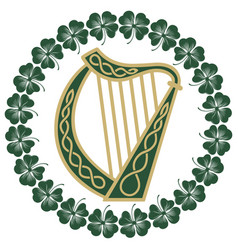 ireland harp musical instrument in vintage retro vector image