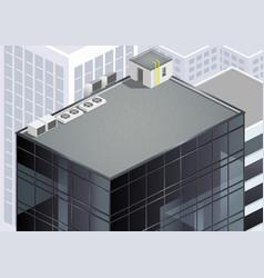 Isometric skyscraper roof vector
