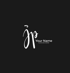 J p jp initial logo signature handwriting vector