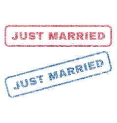Just married textile stamps vector
