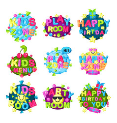 kids zone logo set bright colorful emblem for vector image