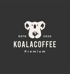 koala coffee hipster vintage logo icon vector image