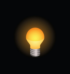 light bulb icon in color on black background vector image