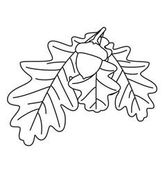line art black and white oak branch vector image