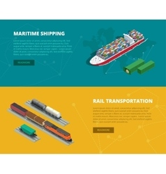 Logistic concept flat banners of maritime shipping vector