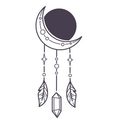 magical talisman or amulet dream catcher moon vector image