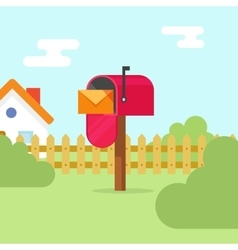 Mailbox with letter envelope and house landscape vector