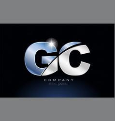 Metal blue alphabet letter gc g c logo company vector