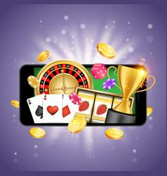 mobile casino poster banner design template vector image