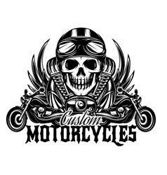 Monochrome image with skulls motorcycles vector