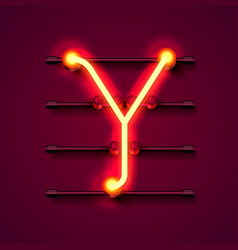 Neon font letter y art design signboard vector