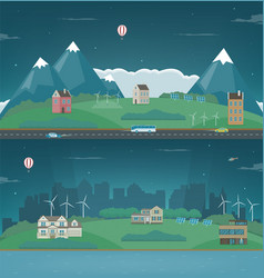 Night suburban landscape cityscape template with vector