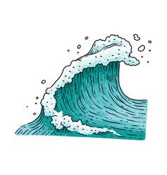 ocean or sea water blue wave cartoon vector image