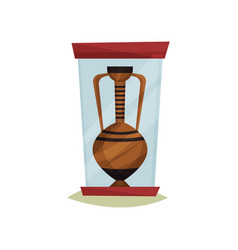 old ceramic amphora with two handles under glass vector image
