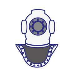Old scuba mask icon vector