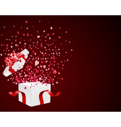 Open gift present box with fly hearts vector