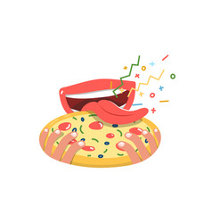 open mouth with tongue sticking out eating pizza vector image