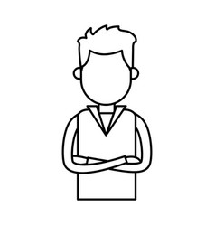outlined male crossed arms clothes casual vector image