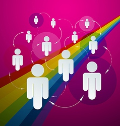 Paper People in Circles - Social Media Connection vector