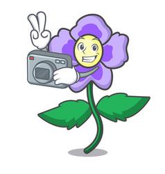 Photographer pansy flower mascot cartoon vector