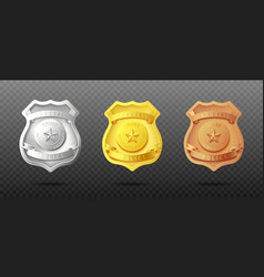 police officers badges in three metal set vector image