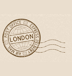 postal stamp round brown postmark with london vector image