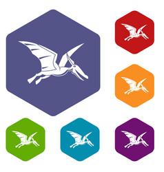 Pterosaurs dinosaur icons set hexagon vector