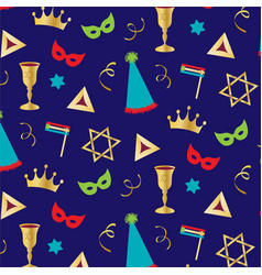 purim holiday pattern vector image