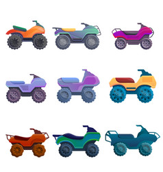 Quad bike icons set cartoon style vector