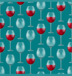 realistic detailed 3d wine glass seamless pattern vector image
