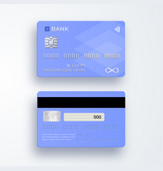 Realistic plastic credit card bank card with chip vector