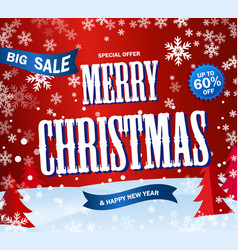 red banner big sale text merry christmas and happy vector image