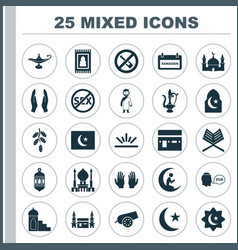 Religion icons set collection of man with moon vector