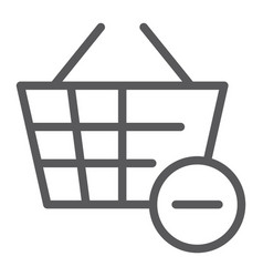 Remove from bucket line icon shopping and vector