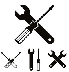Repair icon set with wrenches and screwdrivers vector image