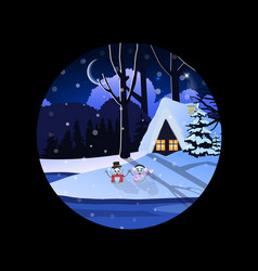 round sign of winter snowy night landscape with vector image