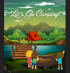 Scene with kids camping by river vector