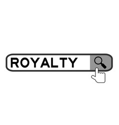 Search box with word royalty and hand icon over vector
